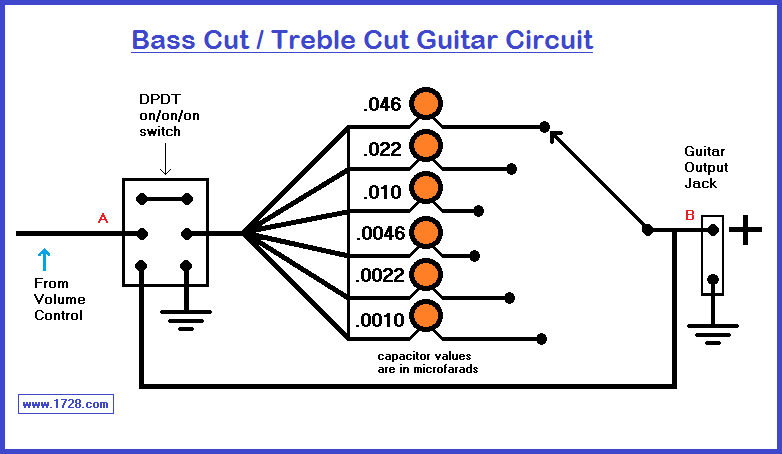 Simple B Treble Circuit Diagram | Bass Cut Treble Cut Guitar Tone Circuit